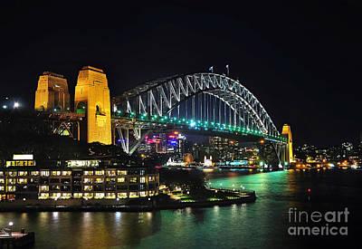 Luna Park Photograph - Colorful Sydney Harbour Bridge By Night 3 by Kaye Menner