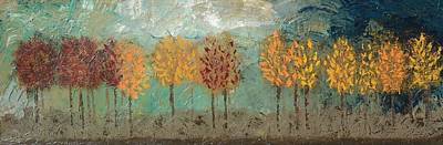 Colorful Trees Print by Linda Bailey