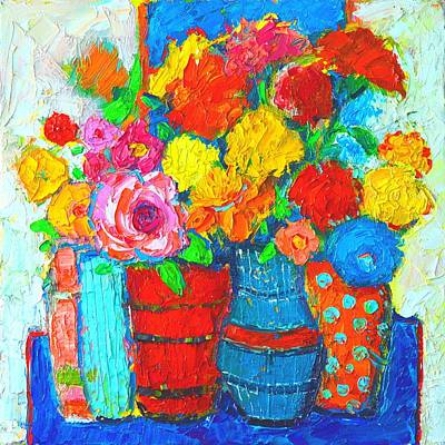 With Texture Painting - Colorful Vases And Flowers - Abstract Expressionist Painting by Ana Maria Edulescu