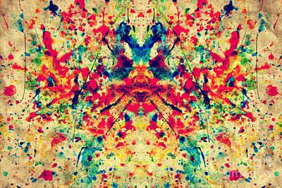 Colorful Watercolor Splash On Vintage Grunge Canvas Paper Print by Michal Bednarek