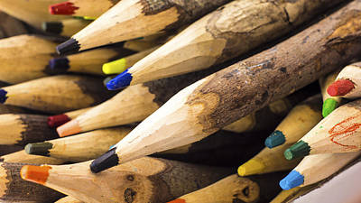 Colored Pencil Abstract Photograph - Colorful Wooden Pencil by Aged Pixel