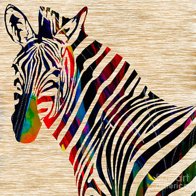 Zebra Mixed Media - Colorful Zebra by Marvin Blaine
