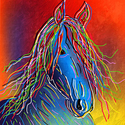Race Horse Digital Art - Colors By Numbers  by Mark Ashkenazi