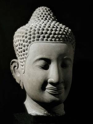 Statue Portrait Photograph - Colossal Buddha Head. 13th-14th C by Everett