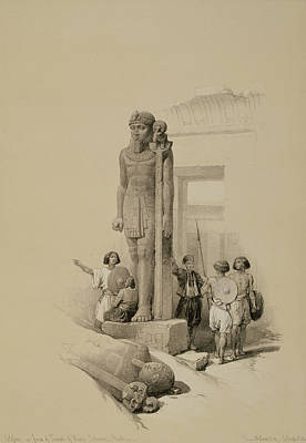 Statues Drawing - Colossus In Front Of The Temple Of Wady Sabona, Ethiopia  by David Roberts