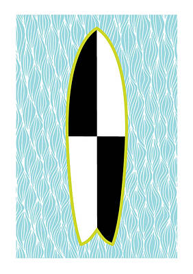 Colour Block Surfboard Print by Susan Claire