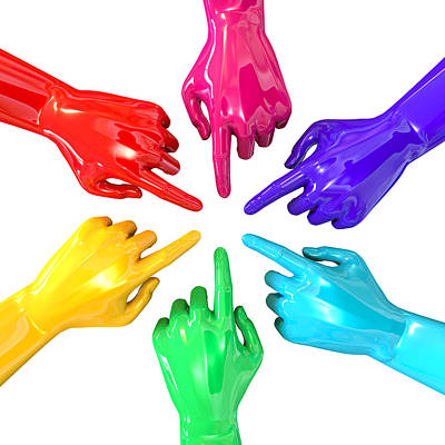 Colourful Hands Circle Pointing Inward Print by Allan Swart
