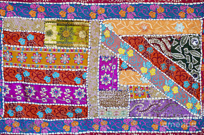 Floral Fabric Photograph - Colourful Indian Patchwork Wall Hanging by Tim Gainey