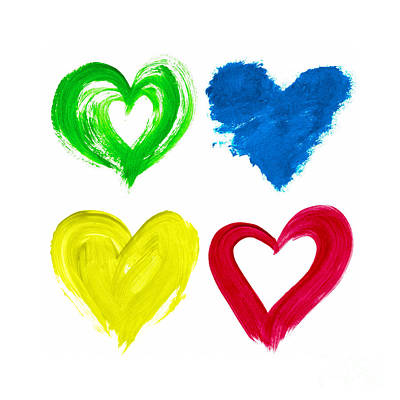 Colourful Love Hearts Print by Tim Gainey
