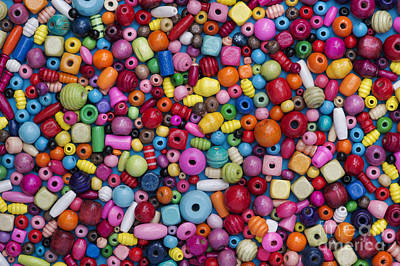 Round Beads Photograph - Colourful Wooden Beads by Tim Gainey