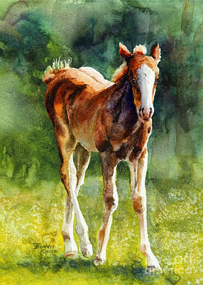 Filly Painting - Colt In Green Pastures by Bonnie Rinier