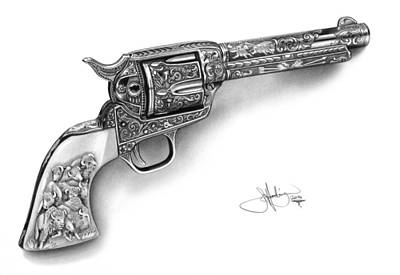 Marilyn Drawing - Colt Revolver Drawing by John Harding