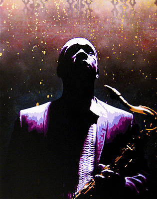 Stencil Art Painting - Coltrane II - Coltrane Harder by Bobby Zeik