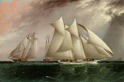 Sailing Vessels Painting - Columbia Leading Dauntless In The Hurricane Cup Race by James E Buttersworth
