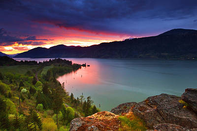 Columbia River Photograph - Columbia Sunset by Darren  White