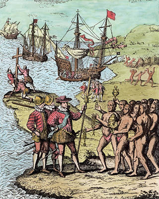 Columbus At Hispaniola, From The Narrative And Critical History Of America, Edited By Justin Print by Theodore de Bry