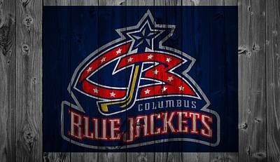 Blue Barn Doors Mixed Media - Columbus Blue Jackets Barn Door by Dan Sproul