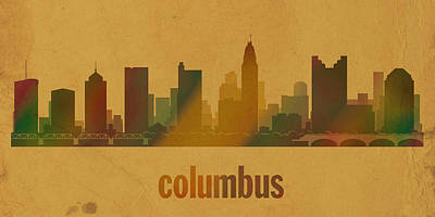 Columbus Ohio City Skyline Watercolor On Parchment Print by Design Turnpike