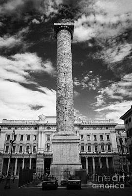 Column Of Marcus Aurelius Topped By Bronze Statue Of St Paul In Piazza Colonna Rome Lazio Italy Print by Joe Fox