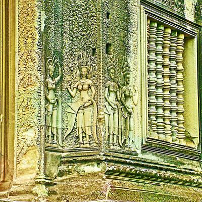 Angkor Digital Art - Columns And Hindu Devatas At Angkor Wat In Angkor Wat Archeological Park Near Siem Reap-cambodia by Ruth Hager