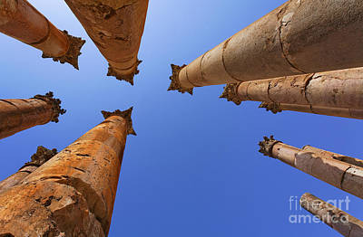 Jerash Photograph - Columns At The Temple Of Artemis In Jerash by Robert Preston