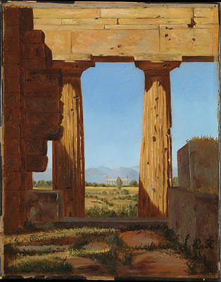 Columns Of The Temple Of Neptune At Paestum Print by Constantin Hansen