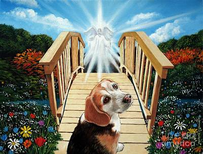 Animal Shelter Painting - Come Walk With Me Over The Rainbow Bridge by Christopher Shellhammer