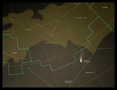 Comet Hale-bopp And Constellations Print by Detlev Van Ravenswaay