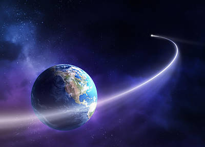 Purple Digital Art - Comet Moving Past Planet Earth by Johan Swanepoel