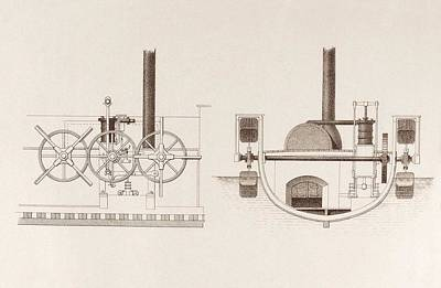Steamboat Photograph - Comet Paddleboat Engine by Science, Industry And Business Library/new York Public Library