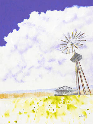Abstract Windmill Painting - Coming Home by Jerome Lawrence