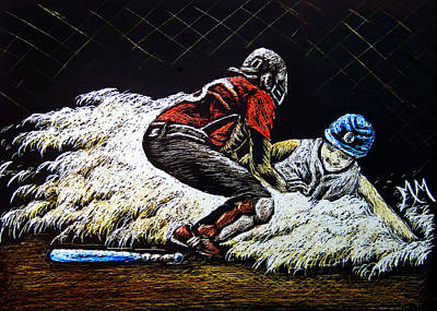 Softball Drawing - Coming Home by Monique Morin Matson