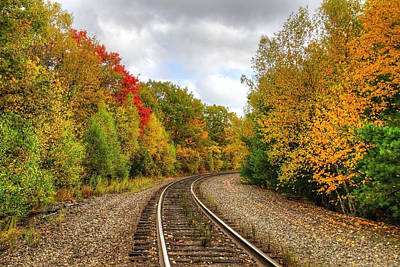 Train Photograph - Coming 'round The Bend In Autumn by Donna Doherty