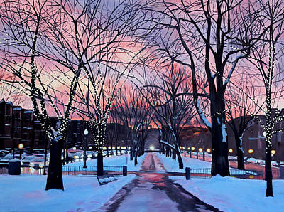 Snowscape Painting - Snowfall On Comm Ave Boston  by Sue Birkenshaw