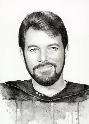 Commander William Riker Star Trek Print by Olga Shvartsur
