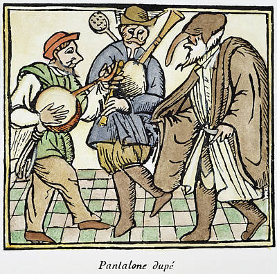Bagpipes Painting - Commedia Del' Arte, 17th C by Granger