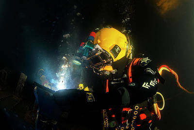 Commercial Diver Welding Print by Louise Murray