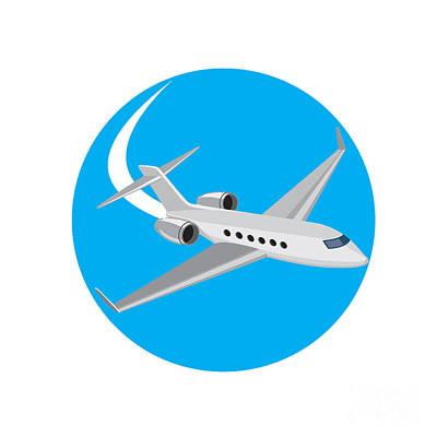Passenger Plane Digital Art - Commercial Light Passenger Airplane Circle Retro by Aloysius Patrimonio