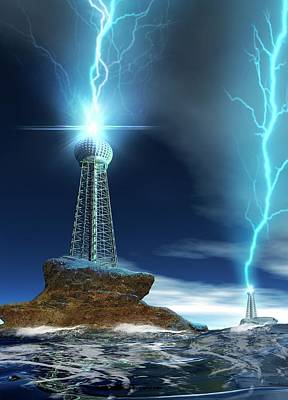 Lightning Photograph - Communications Tower With Lightning by Victor Habbick Visions