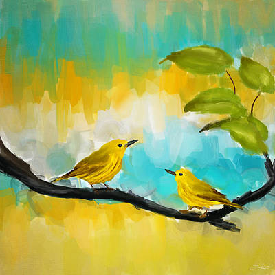 Warbler Painting - Companionship by Lourry Legarde