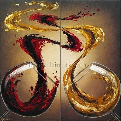 Women Tasting Wine Painting - Comparing Pinot Wine Art Painting by Leanne Laine