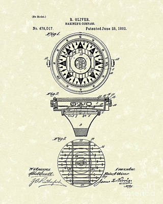 1892 Drawing - Compass 1892 Patent Art by Prior Art Design