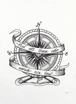 Explore Drawing - Compass Drawing by Jon Cotroneo