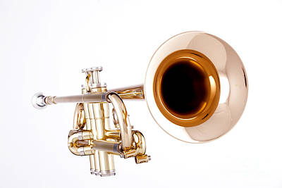 Trumpet Photograph - Complete Trumpet Bell Front In Color Isolated 3018.02 by M K  Miller