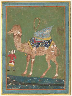 Camels Painting - Composite Camel With Attendant by Celestial Images