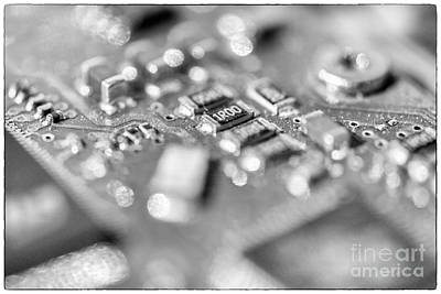 Owner Photograph - Computer Board High Key Black And White by Iris Richardson