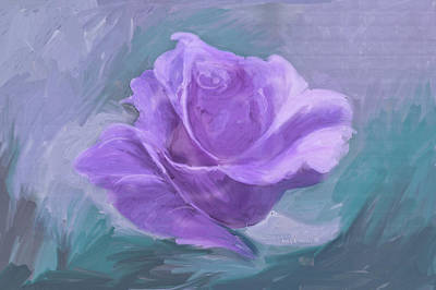 One Stroke Painting - Computer Generated Image Of A Purple by Angela A Stanton