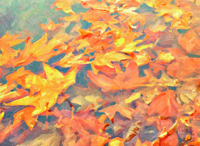 Fallen Leaf On Water Painting - Computer Generated Image Of Autumn by Angela A Stanton