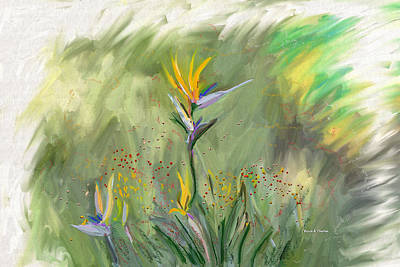 One Stroke Painting - Computer Generated Image Of Flowers by Angela A Stanton