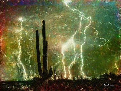Beauty In Nature Painting - Computer Generated Image Of Lightening by Angela A Stanton